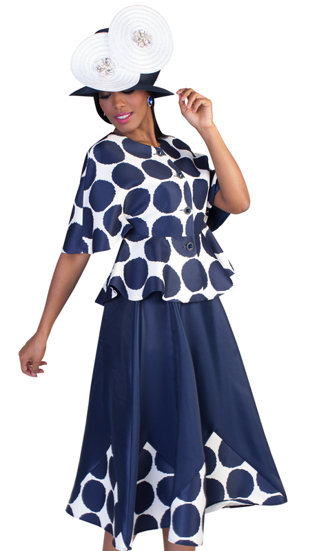 Tally Taylor 4623-NW ( 2pc Womens Silk Church Suit With Bold Polka Dot Top And Trim On Skirt )
