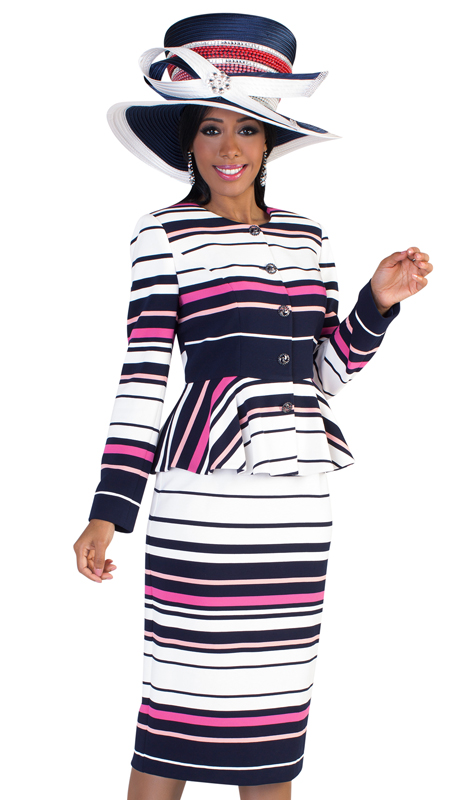 Tally Taylor 4618 ( 2pc Ladies Silk Suit For Sunday With Multi Size Striping And Accent Buttons )