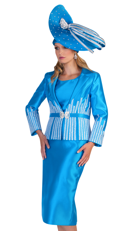 Tally Taylor 4619-IM ( 2pc Silk First Ladies Suit For Church With Herring Bone Pattern Inlayed )