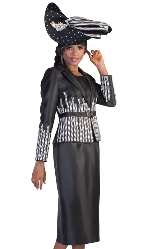 Tally Taylor 4619-BLK ( 2pc Silk First Ladies Suit For Church With Herring Bone Pattern Inlayed )