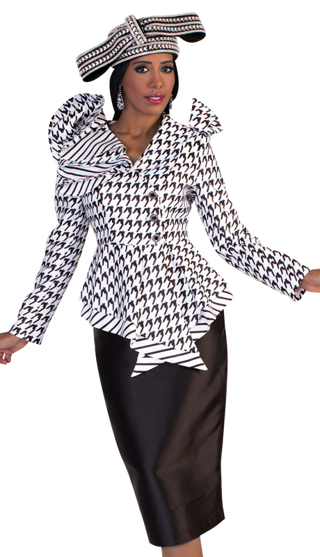 Tally Taylor 4645-WB ( 2pc First Ladies Silk Church Suit With Houndstooth Patterned Jacket, Striped Trim, And Beautiful Ruffled Collar )