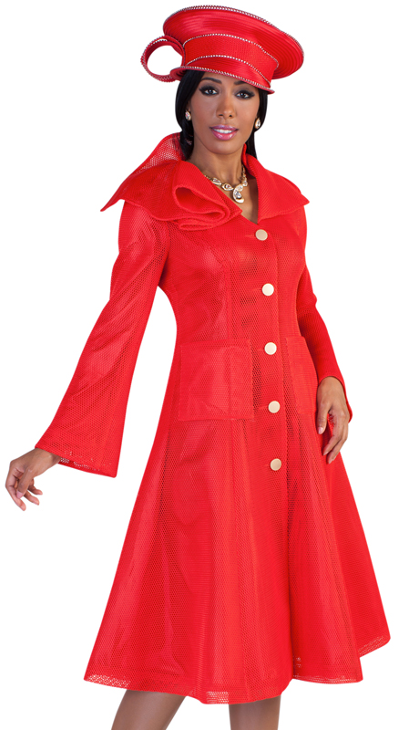 Tally Taylor 4583 ( 1pc Womens Church Dress With Bold Buttons, Elegantly Layered Collar, And Flare Sleeves )