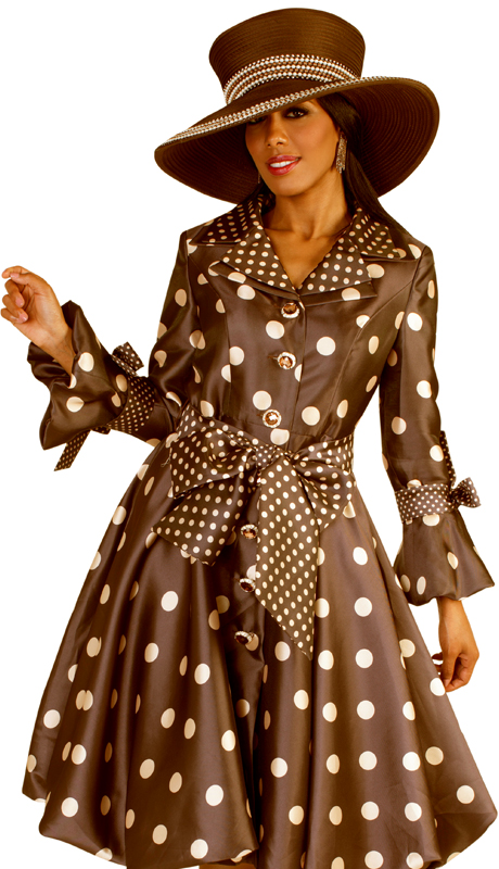 Tally Taylor 4592-BB ( 1pc Silk Look Multi Polka Dots Church Dress With Tailored Collar And Bell Sleeves Adorned With Bows )