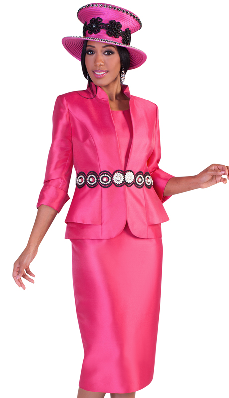 Tally Taylor 4617 ( 3pc Ladies Silk Suit For Church With Roll Up Sleeves, Layered Jacket Design, And Intricate Patterning At Waist )