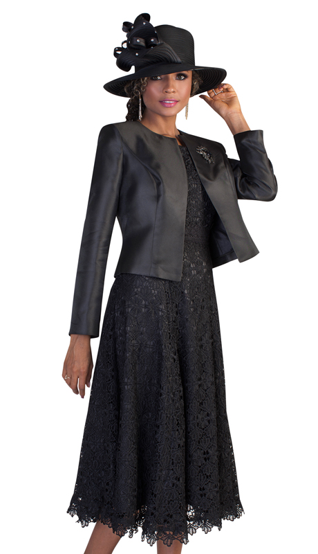 Tally Taylor 4529 ( 2pc Ladies Church Dress With Solid Jacket And Stunning Lace Dress )