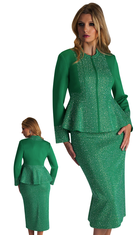 LO7226-EM-CO ( 2pc Ladies Knit Sunday Suit Studded With Multi Size Rhinestones On Jacket And Skirt )