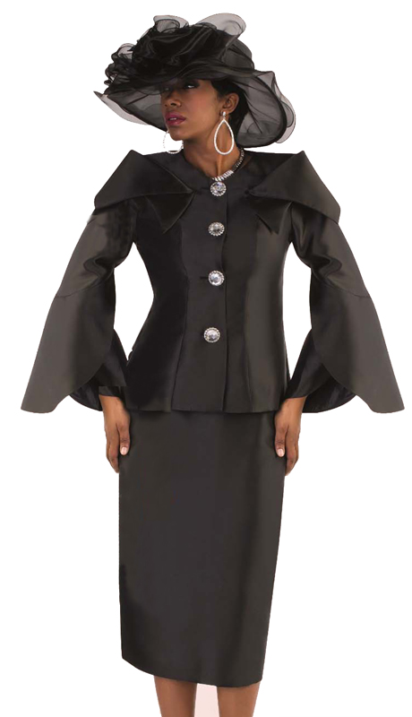Tally Taylor 4570-B ( 2pc Ladies Silk Church Skirt Suit With Expanded Collar And Jeweled Buttons )
