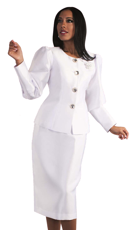 Tally Taylor 4588 ( 2pc Suit With Puffed Sleeves & Rhinestone Brooch For Women Sunday Church )