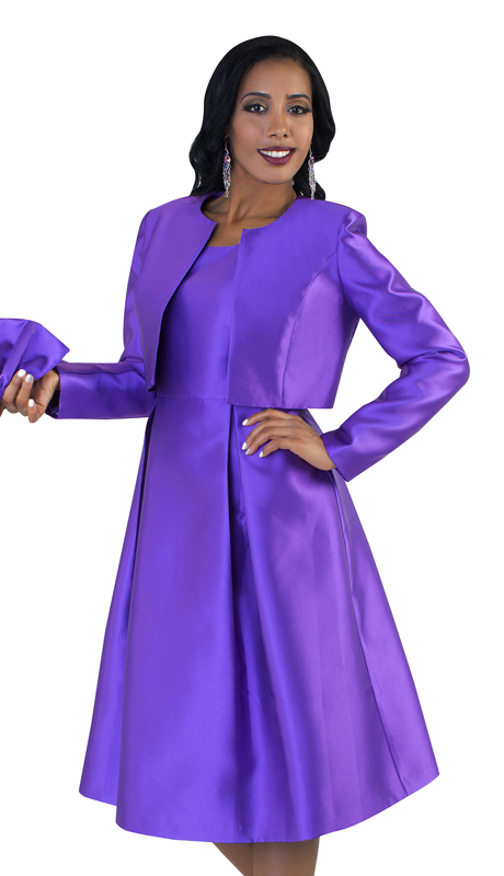 Tally Taylor 4637-P ( 2pc Womens Silk Look Sunday Dress With Detachable Bow On Jacket )