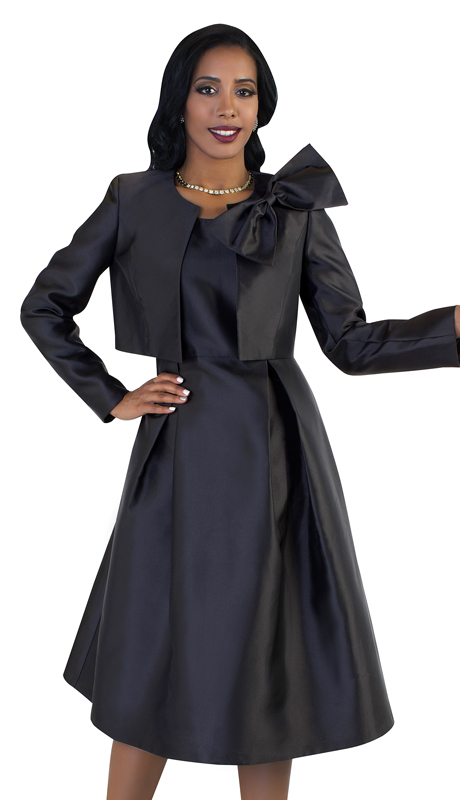 Tally Taylor 4637-B ( 2pc Womens Silk Look Sunday Dress With Detachable Bow On Jacket )