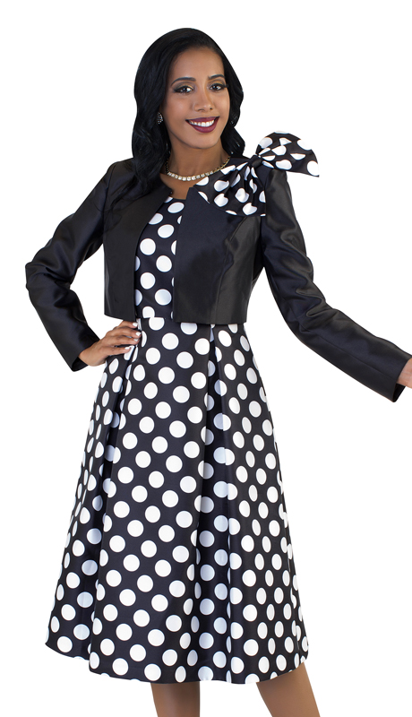Tally Taylor 4637-NW ( 2pc Womens Silk Look Sunday Dress With Detachable Bow On Jacket )