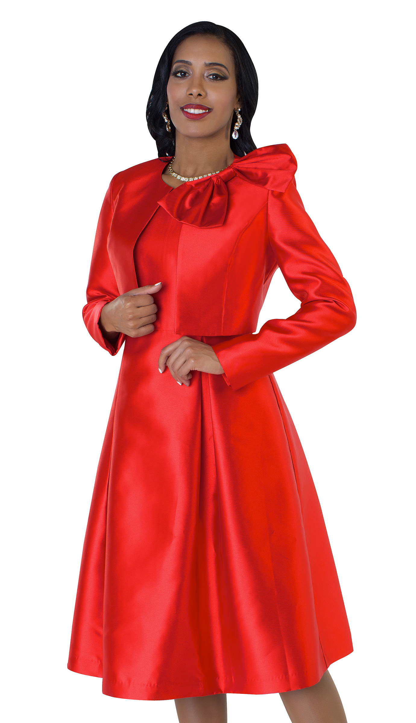 Tally Taylor 4637-R ( 2pc Womens Silk Look Sunday Dress With Detachable Bow On Jacket )