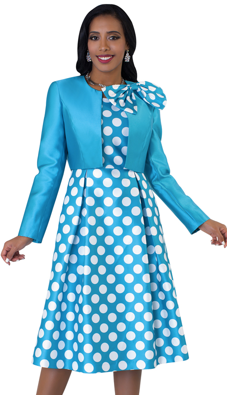 Tally Taylor 4637-TW ( 2pc Womens Silk Look Sunday Dress With Detachable Bow On Jacket )