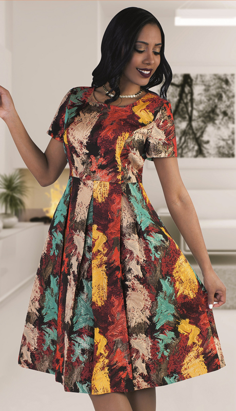 Chancelle 9482-CO  ( 1pc Ladies Novelty Dress With Stunning Firework Print )