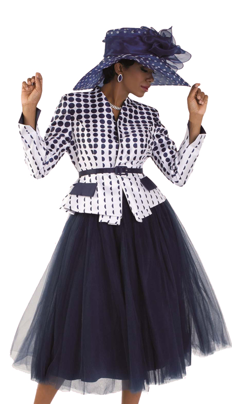Tally Taylor 4581 (1pc Tulle Skirt Suit With Polka-Dot Print Belted Jacket For Sunday Church )