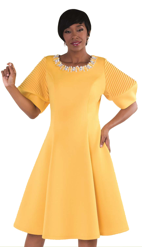 Tally Taylor 4612-M ( 1pc Church Pleated Dress With Puffed Sleeves & Rhinestone Neckline )