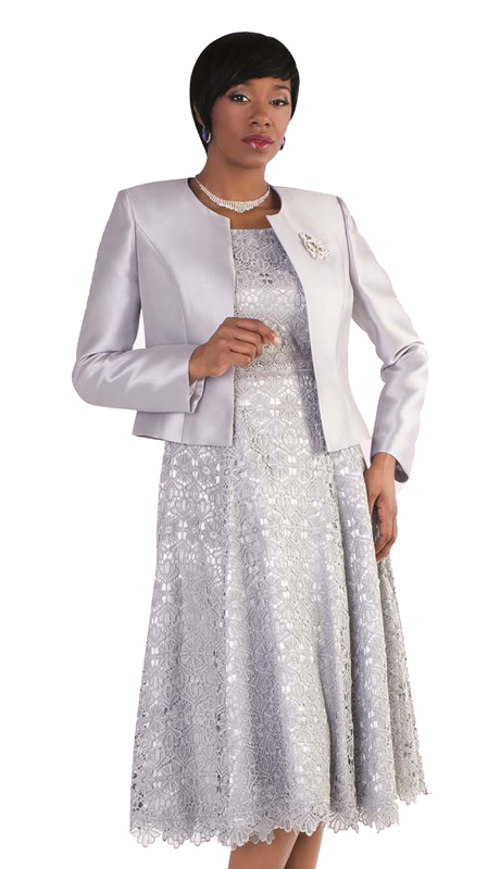 Tally Taylor 4529-SL ( 2p Women Sunday Dress Suit With Detachable Rhinestone Brooch Graceful Pleated lace Silk look Jacket)