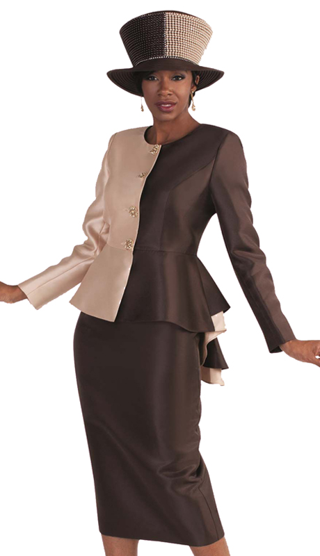 Tally Taylor 4582-IH ( 2pc First Lady Skirt Suit Two Tone High low Peplum Jacket With Jeweled Buttons )