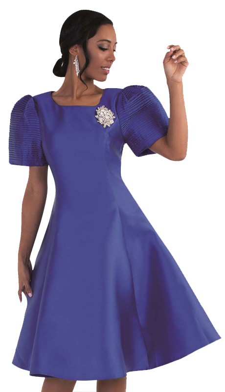 Tally Taylor 4573-RO-SA ( 1pc Women Sunday Dress With Detachable  Rhinestone Brooch And Puffed Sleeves )