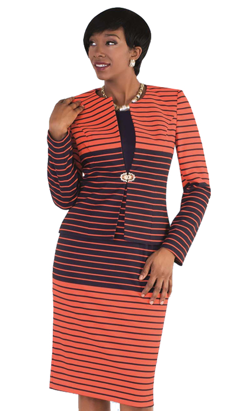 Tally Taylor 9414-ON ( 2pc Skirt Suit With Striped Patterns & Rhinestone Clasp )