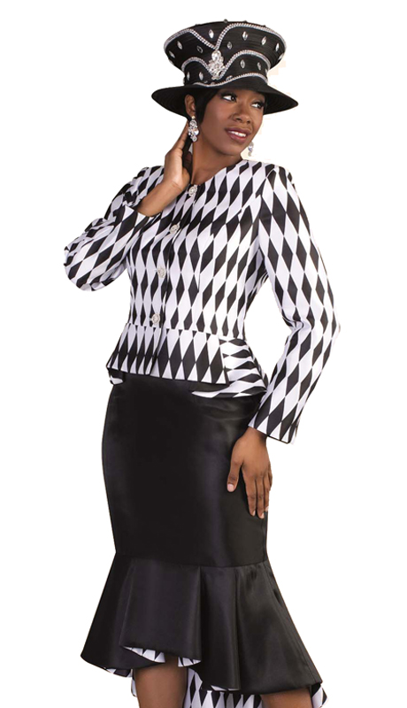 Tally Taylor 4579 ( 2pc Ladies Church Suit, Flounce Hem Skirt Suit With Diamond Checker Print And Rhinestone Buttons )