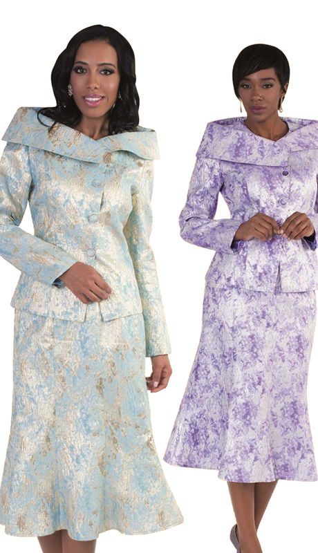 Tally Taylor 4569- ( 2pc First Lady Church Suit Exclusive Brocade Fabric High Collar and Jeweled Buttons )