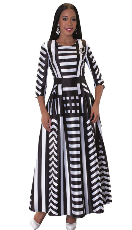 Tally Taylor 4497-BW-CO ( 1pc Womens Long Church Dress With Stripe Pattern, Rhinestone Brooch, Three Quarter Sleeves And Pleated Waist )