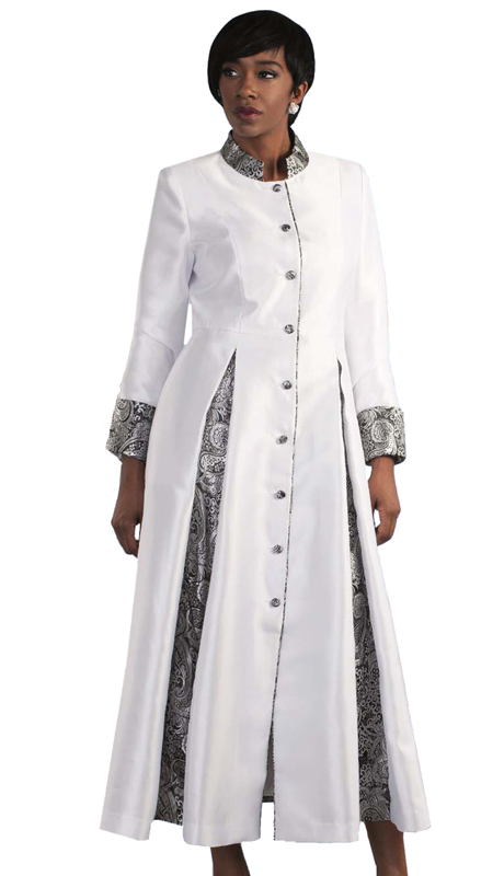 Tally Taylor 4544-WS ( 1pc Silk Look Womens Cassock Robe For Church With Rhinestone Buttons And Two Tone Pleats )