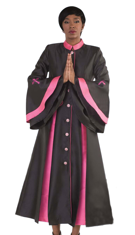 Tally Taylor 4615-BF ( 1pc Silk Look Womens Cassock Robe For Church With Rhinestone Buttons And Two Tone Pleats, Bell Sleeves )