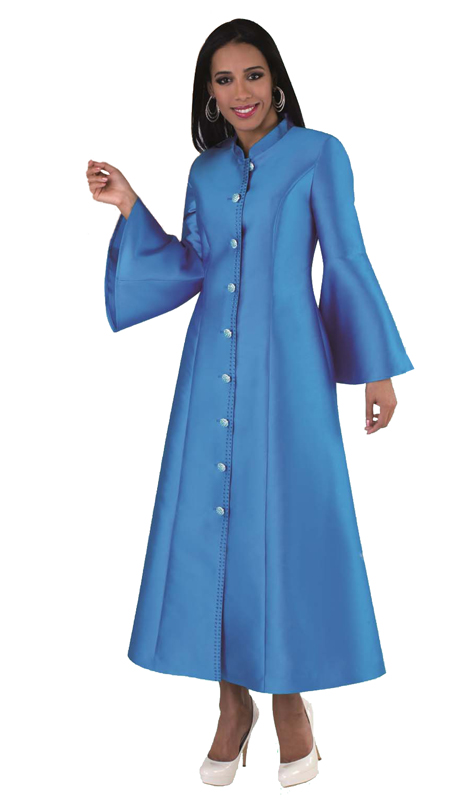 Tally Taylor 4634 ( 1pc Robe in Exclusive Silk With Flare Sleeves And Rhinestone Buttons For Church )
