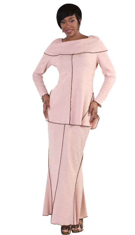Tally Taylor 4610-DR-SA ( 2pc Ladies Church skirt Suit In Floral Textured Knit With Overlocked Edge Details )