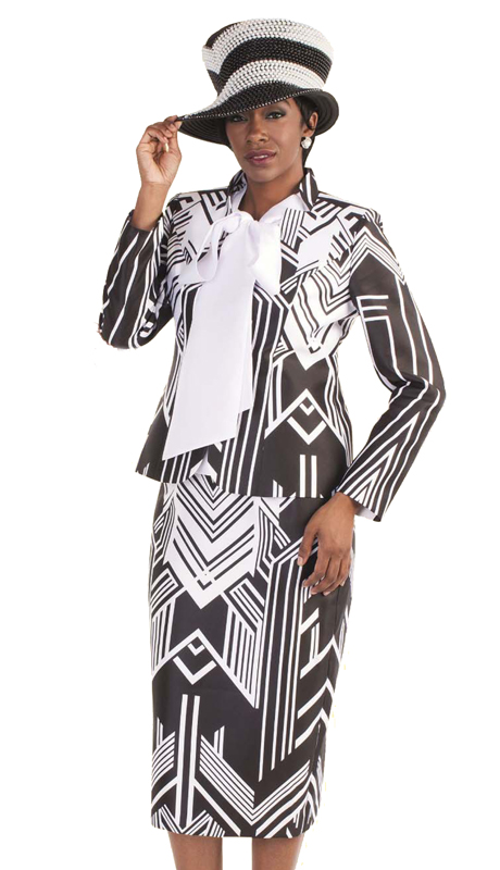 Tally Taylor 4580-BW ( 3pc Exclusive First Lady Church Suit In Two Tone Geometric Pattern With Bow-Tie Shirt )