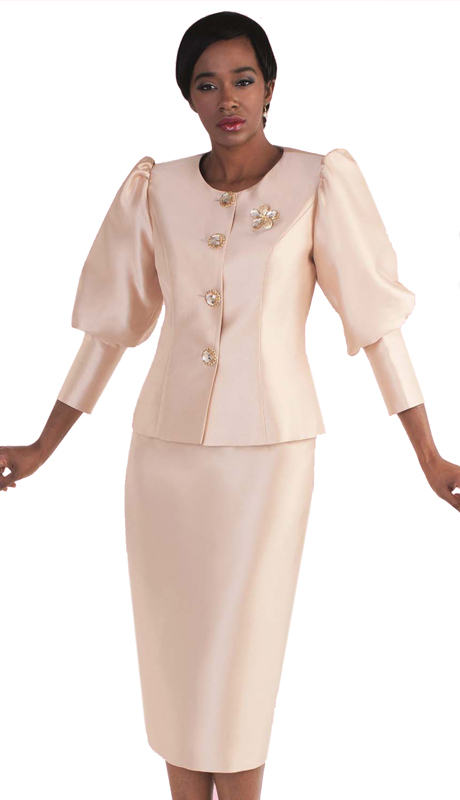 Tally Taylor 4588-CH-CO ( 2pc Suit With Puffed Sleeves & Rhinestone Brooch For Women Sunday Church )