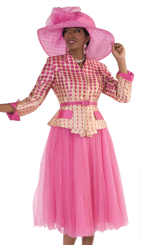 Tally Taylor 4581-FC (1pc Tulle Skirt Suit With Polka-Dot Print Belted Jacket For Sunday Church )