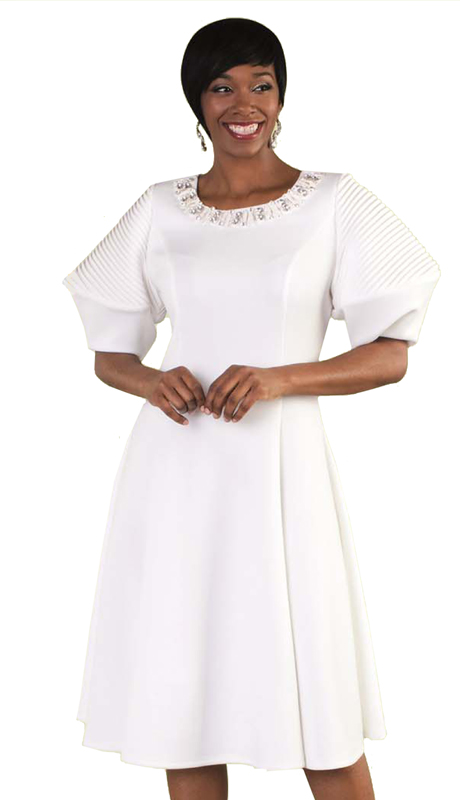 Tally Taylor 4612-W ( 1pc Church Pleated Dress With Puffed Sleeves & Rhinestone Neckline )
