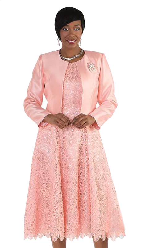 Tally Taylor 4529-P ( 2p Women Sunday Dress Suit With Detachable Rhinestone Brooch Graceful Pleated lace Silk look Jacket)