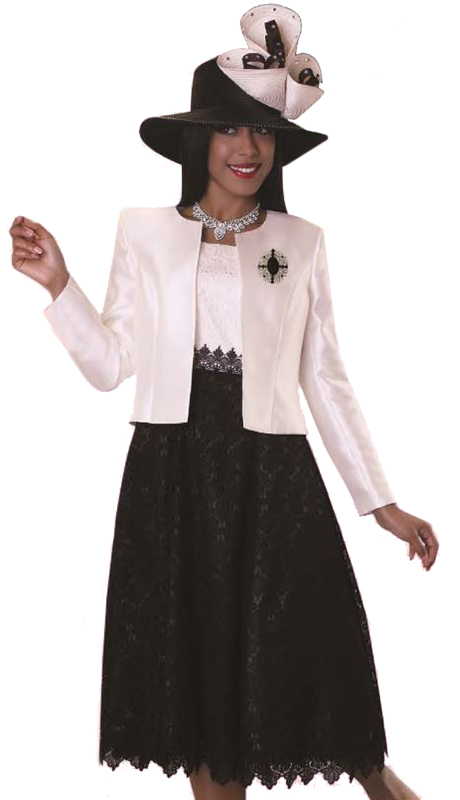 Tally Taylor 4614-IB-CO ( 1pc Church Lace Dress Suit With Silk Look Jacket & Detachable Brooch )