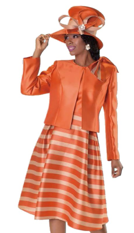 Tally Taylor 4574-IM ( 2pc Silk Look Two Tone Church Dress Suit With Beautiful Bow On Jacket )