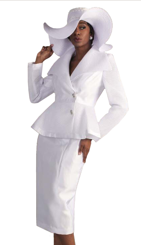 Tally Taylor 4595-IH-W ( 1pc Skirt Suit With Mesh Details on Jacket And Jeweled Buttons )