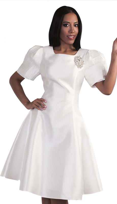 Tally Taylor 4573-W-SA ( 1pc Women Sunday Dress With Detachable Rhinestone Brooch And Puffed Sleeves )