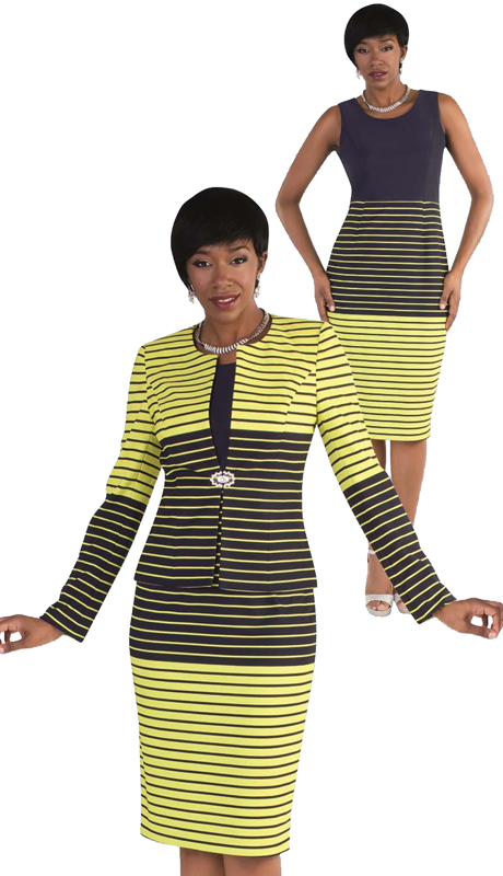 Tally Taylor 9414-LN ( 2pc Skirt Suit With Striped Patterns & Rhinestone Clasp )
