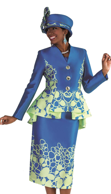 Tally Taylor 4589 ( 1pc Church Suit Circular Print Skirt Suit With High Low Peplum Jacket )