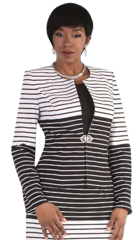 Tally Taylor 9414-BW ( 2pc Skirt Suit With Striped Patterns & Rhinestone Clasp )