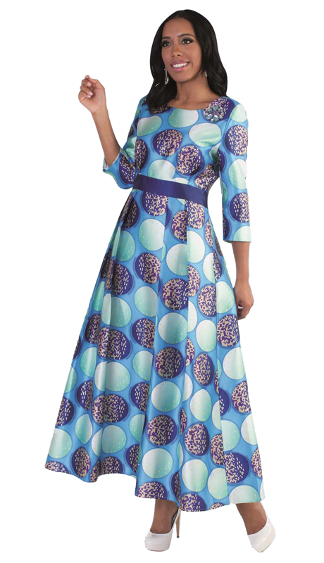 Tally Taylor 4497-BM ( 1pc Womens Long Church Dress With Rhinestone Brooch Silk Look Fabric )