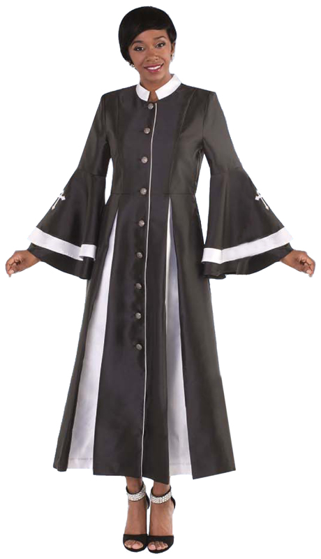 Tally Taylor 4615-BW  ( 1pc Silk Look Womens Cassock Robe For Church With Rhinestone Buttons And Two Tone Pleats, Bell Sleeves )