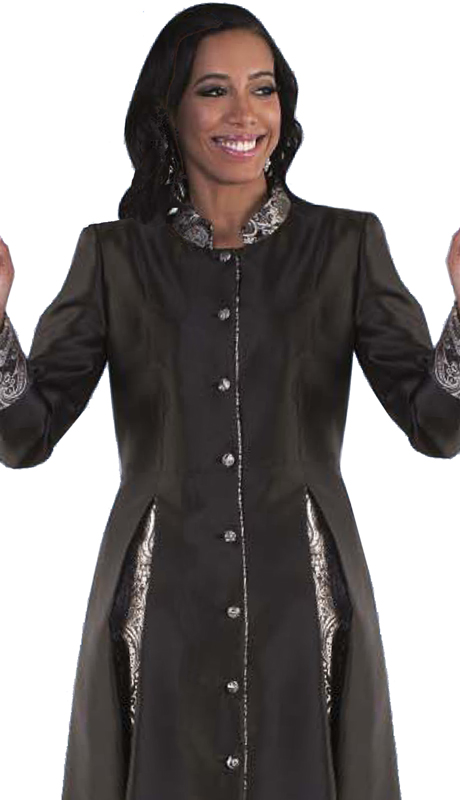 Tally Taylor 4544-BS-CO ( 1pc Silk Look Womens Cassock Robe For Church With Rhinestone Buttons And Two Tone Pleats )