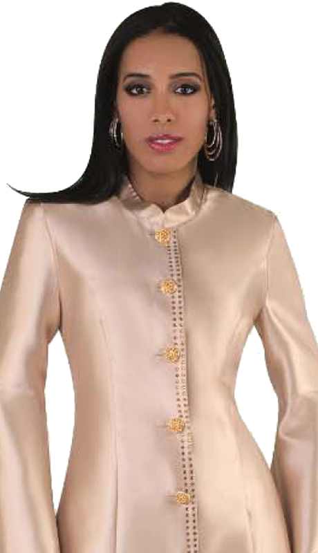 Tally Taylor 4634-CH ( 1pc Robe Exclusive Silk With Flare Sleeves And Rhinestone Buttons For Church )