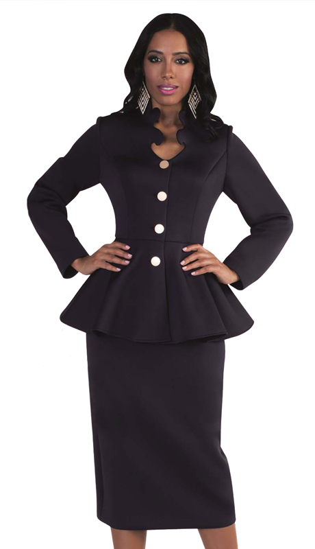 Tally Taylor 4578-N-SA ( 1pc Exclusive Scuba Fabric Church Suit With Intricate Neckline & Peplum Jacket For The First Lady )