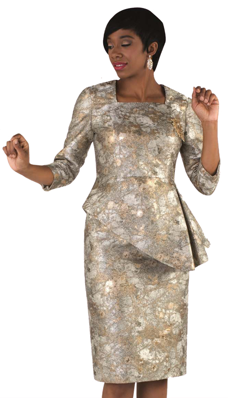 Tally Taylor 4616-GB-SA ( 1pc Metallic Print Dress With Asymmetrical Ruffled Design For The First Lady )