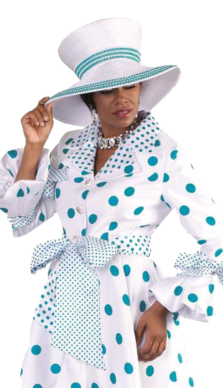 Tally Taylor 4592-WT ( 1pc Church Dress Multi Polka Dots Dress With Tailored Collar And Three Quarter Sleeves )